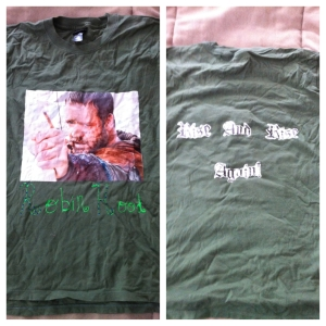 Example of a shirt my sister made for the premiere of Robin Hood. We all wore them to the theater.